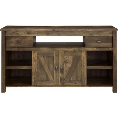 Farmington 60 in. Century Barn Pine Wood TV Stand with 2 Drawer Fits TVs Up to 60 in. with Storage Doors