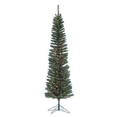 7.5 ft. Pre-Lit Narrow Pencil Fir Artificial Christmas Tree with Clear Lights