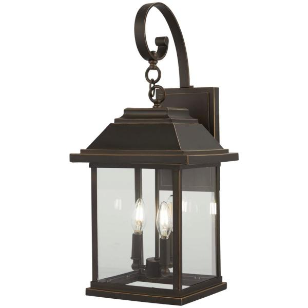 Mariner's Pointe Collection 4-Light Oil Rubbed Bronze with Gold Highlights Outdoor Wall Lantern Sconce