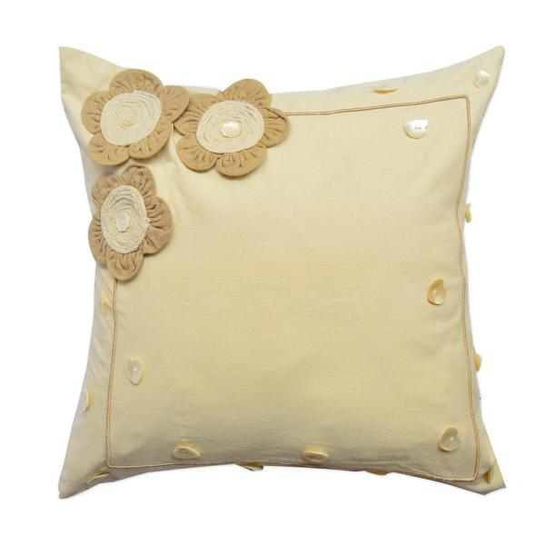 A1HC Applique Floral Pillow, 100% Cotton, 18 in. x 18 in.
