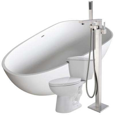 Fiume 67 in. Man-Made Stone Flatbottom Non-Whirlpool Bathtub in White with Khone Faucet and Kame 1.28 GPF Toilet