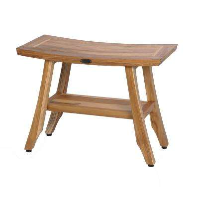 EarthyTeak Satori 24 in. Teak Shower Bench with Shelf