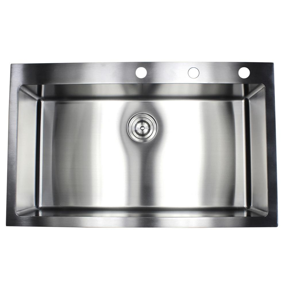 Drop-in Top Mount 16-Gauge Stainless Steel 36 in. x 22 in. x 10 in ...