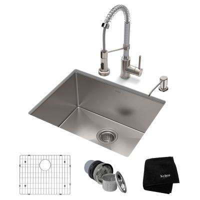 Standart PRO All-in-One Undermount Stainless Steel 23 in. Single Bowl Kitchen Sink with Faucet in Stainless Steel Chrome