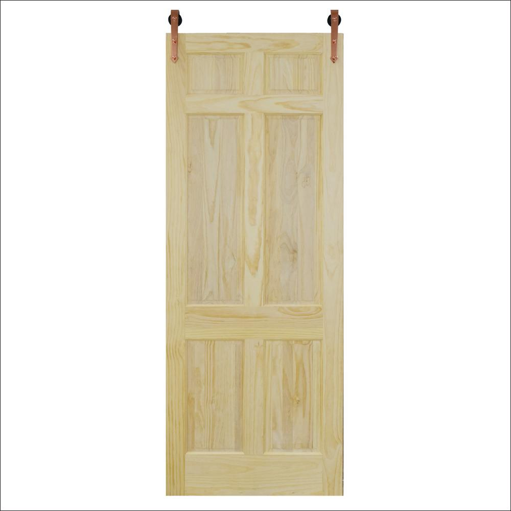 6 Panel Unfinished Pine Barn Door With Copper Sliding Hardware Kit