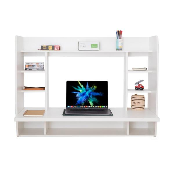 Basicwise Wall Mount Laptop Office Desk With Shelves White