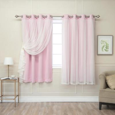 New Pink 63 in. L Marry Me Lace Overlay Blackout Curtain Panel in (2-Pack)