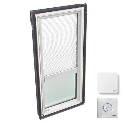 22-1/2 in. x 45-3/4 in. Fixed Deck-Mount Skylight with Laminated Low-E3 Glass, White Solar Powered Light Filtering Blind
