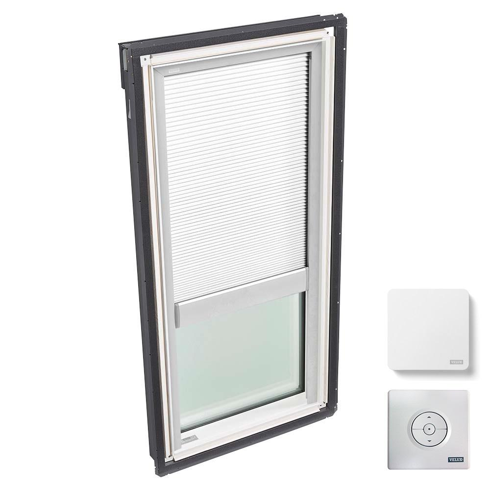 VELUX 22-1/2 in. x 45-3/4 in. Fixed Deck Mount Skylight with Laminated Low-E3 Glass, White Solar Powered Light Filtering Blind