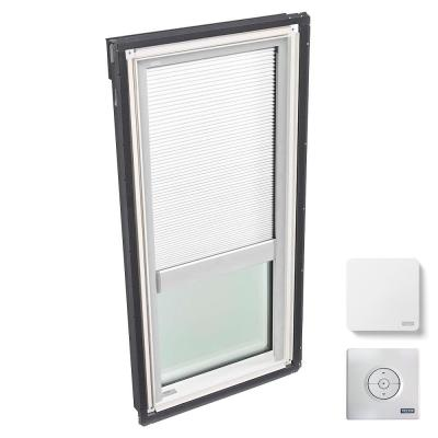 30-1/16 in. x 54-7/16 in. Fixed Deck Mount Skylight w/ Laminated Low-E3 Glass, White Solar Powered Light Filtering Blind