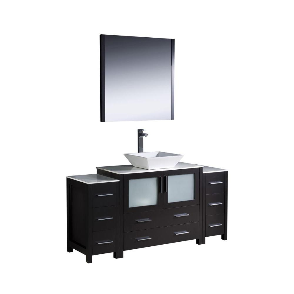 Torino 60 in. Vanity in Espresso with Glass Stone Vanity Top