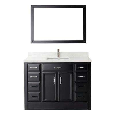 Calais 48 in. W x 22 in. D Vanity in Espresso with Engineered Marble Vanity Top in White with White Basin and Mirror