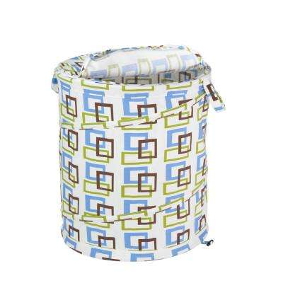 Large Patterned Pop Open Hamper, Brown and Green Squares