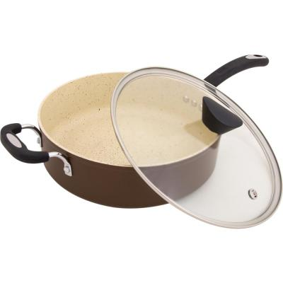 Stone Earth 5.3 qt. Aluminum Ceramic Nonstick Sauce Pan in Coconut Brown with Glass Lid