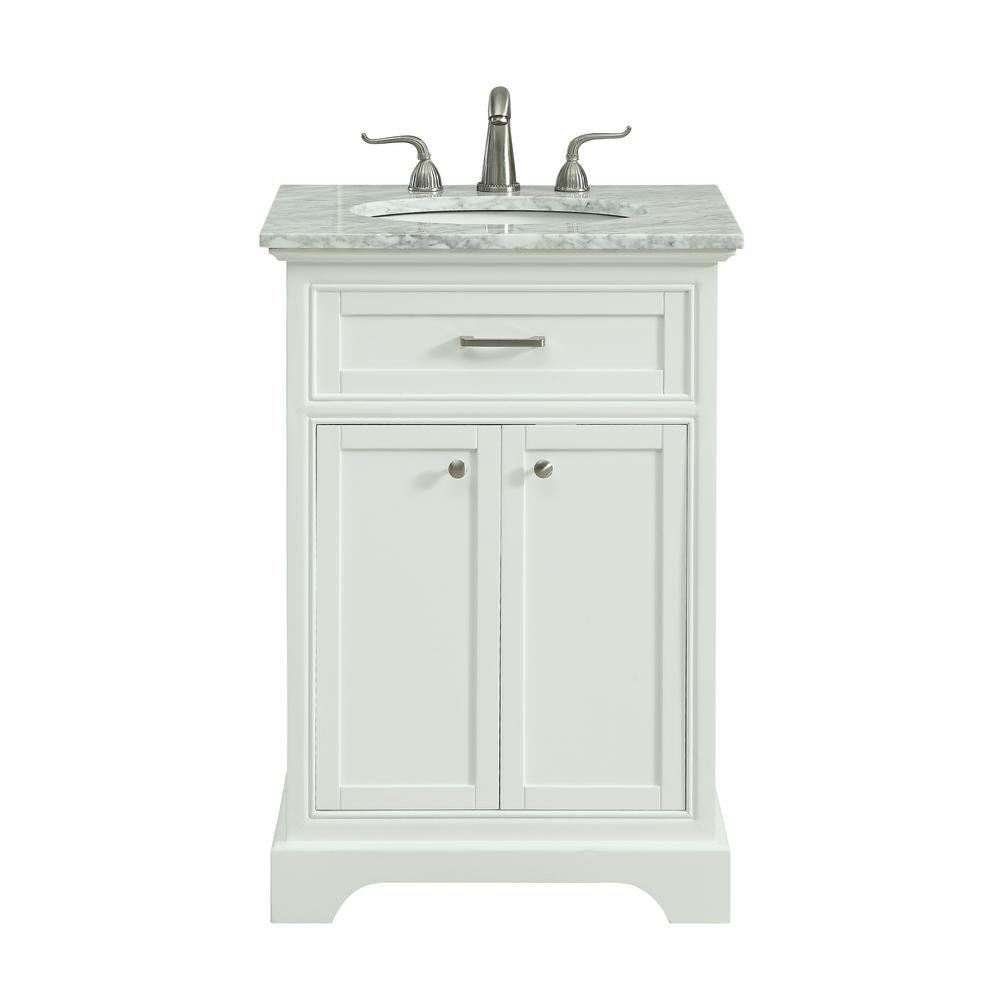 Single bathroom vanity with 1 shelf 2 doors marble top
