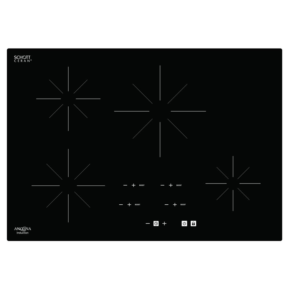 Chef 30 in. Glass-Ceramic Induction Cooktop in Black with 4 Elements