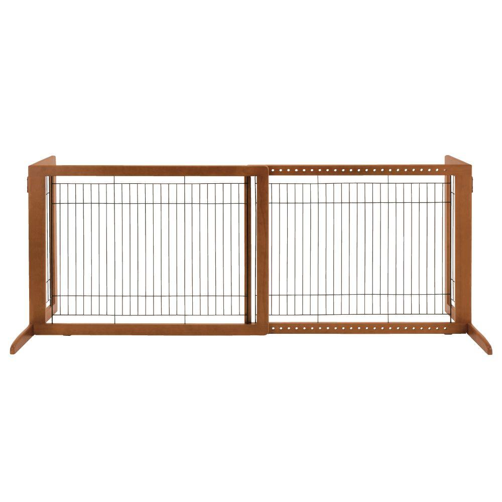 Richell Hl Wood Freestanding Pet Gate In Brown 94147 The