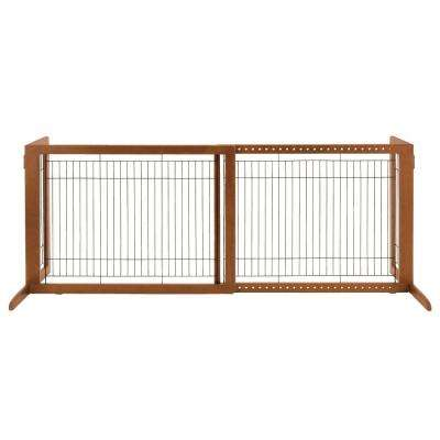 HL Wood Freestanding Pet Gate in Brown