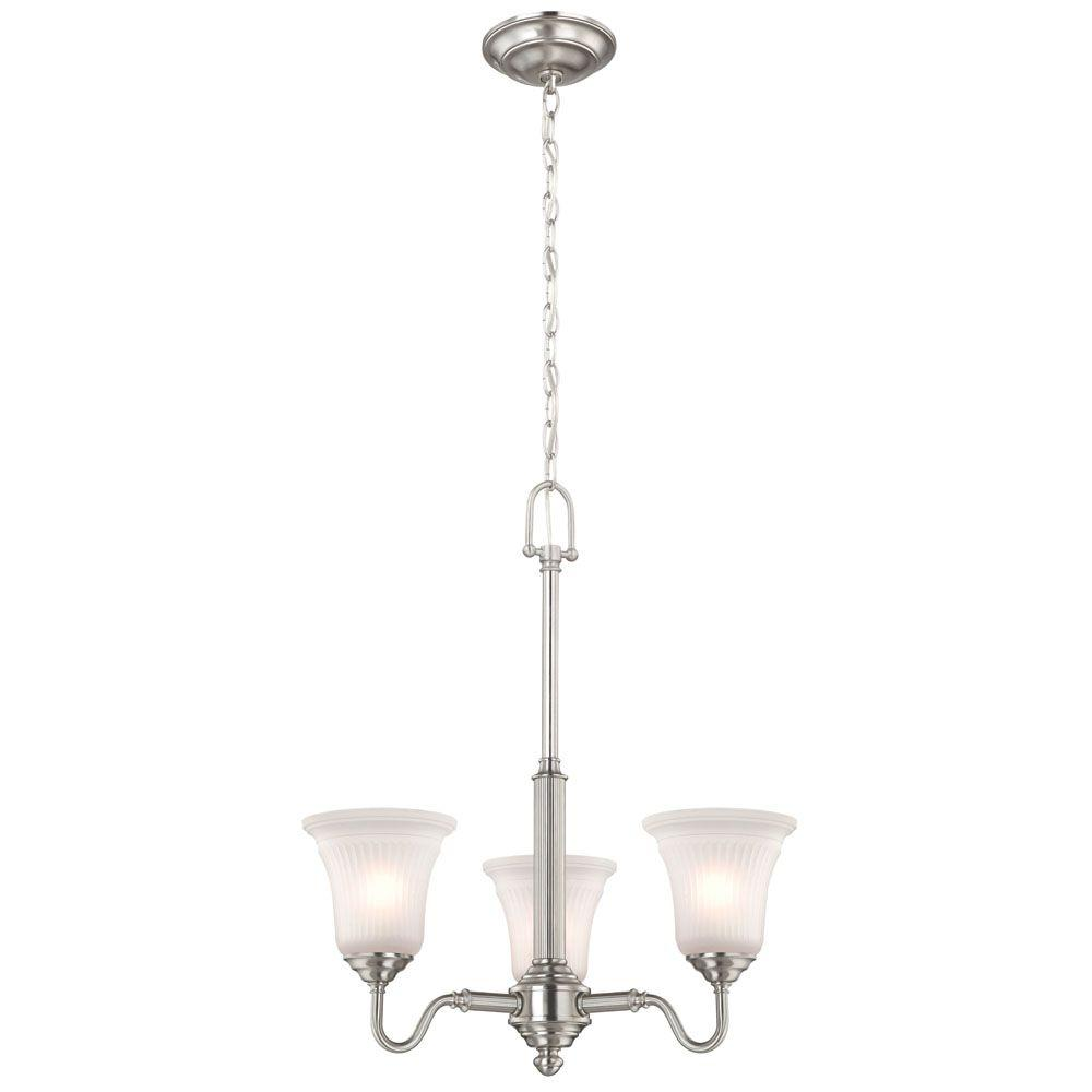 Commercial Electric 3 Light Brushed Nickel Chandelier With Frosted Gl Shades