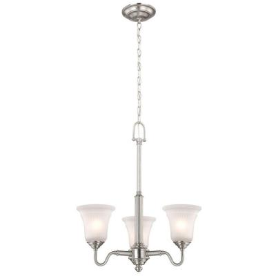 Creekford 3-Light Brushed Nickel Chandelier with Frosted Glass Shades