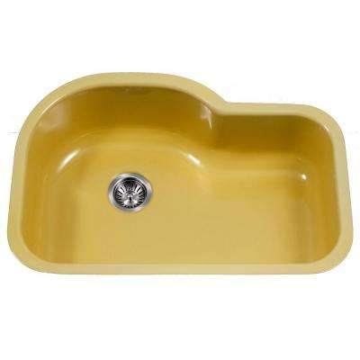 Porcela Series Undermount Porcelain Enamel Steel 31 in. Offset Single Bowl Kitchen Sink in Lemon