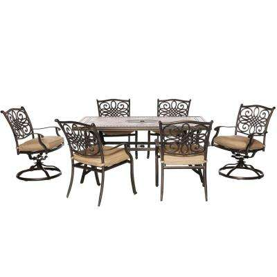 Monaco 7-Piece Rectangular Patio Dining Set with Natural Oat Cushions