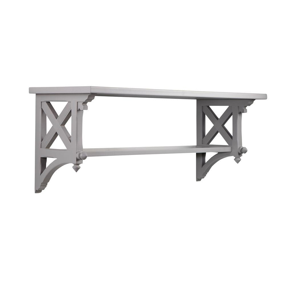 Martha Stewart Living 14.25 in. W Large Cement Gray Country Double Shelf