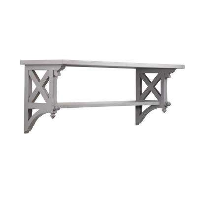 14.25 in. W Large Cement Gray Country Double Shelf