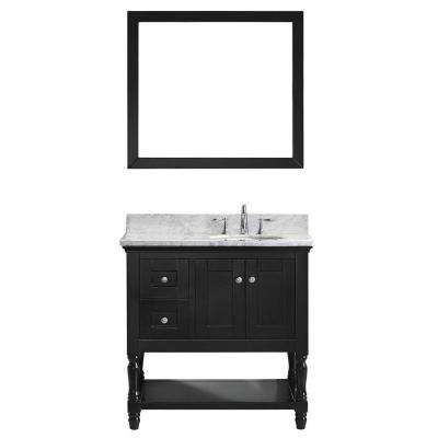 Julianna 36 in. W Bath Vanity in Espresso with Marble Vanity Top in White with Round Basin and Mirror