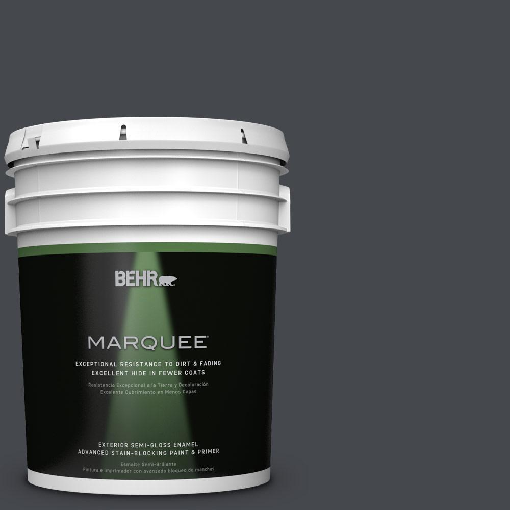 5-gal. #N490-7 Ink Black Semi-Gloss Enamel Exterior Paint