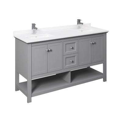 Manchester 60 in. W Bathroom Double Bowl Vanity in Gray with Ceramic Vanity Top in White with White Basins