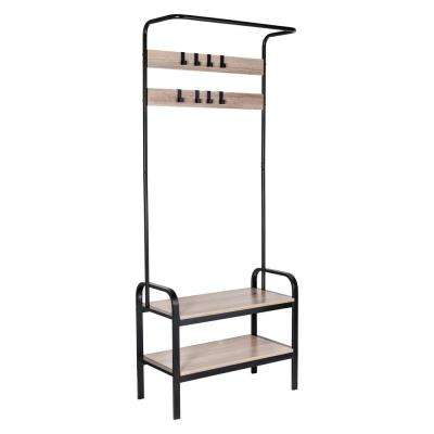 68.50 in. W x 28.36 in. H x 28.36 in. D Charcoal and Black Frame Wood Entry Rack and Bench