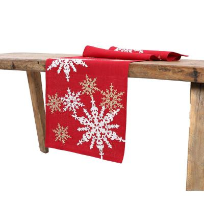 15 in. x 90 in. Magical Snowflakes Crewel Embroidered Christmas Table Runner, Red