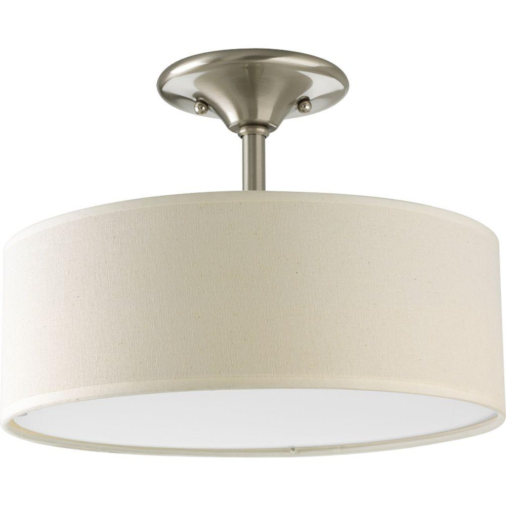 f60a2190682 Progress Lighting. Inspire Collection 13 in. 2-Light Brushed Nickel Semi-Flush  Mount