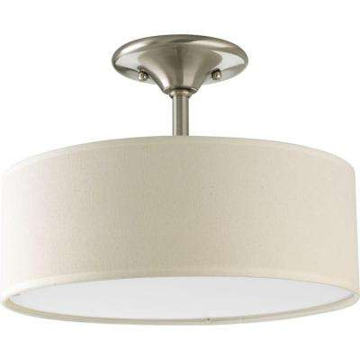 Inspire Collection 13 in. 2-Light Brushed Nickel Semi-Flushmount
