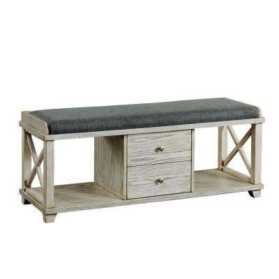 Catherine Weathered White 2-Drawer Shoe Rack Bench