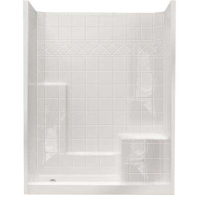 32 in. x 60 in. x 77 in. Standard Low Threshold 3-Piece Shower Kit in White with Right Seat and Left Drain