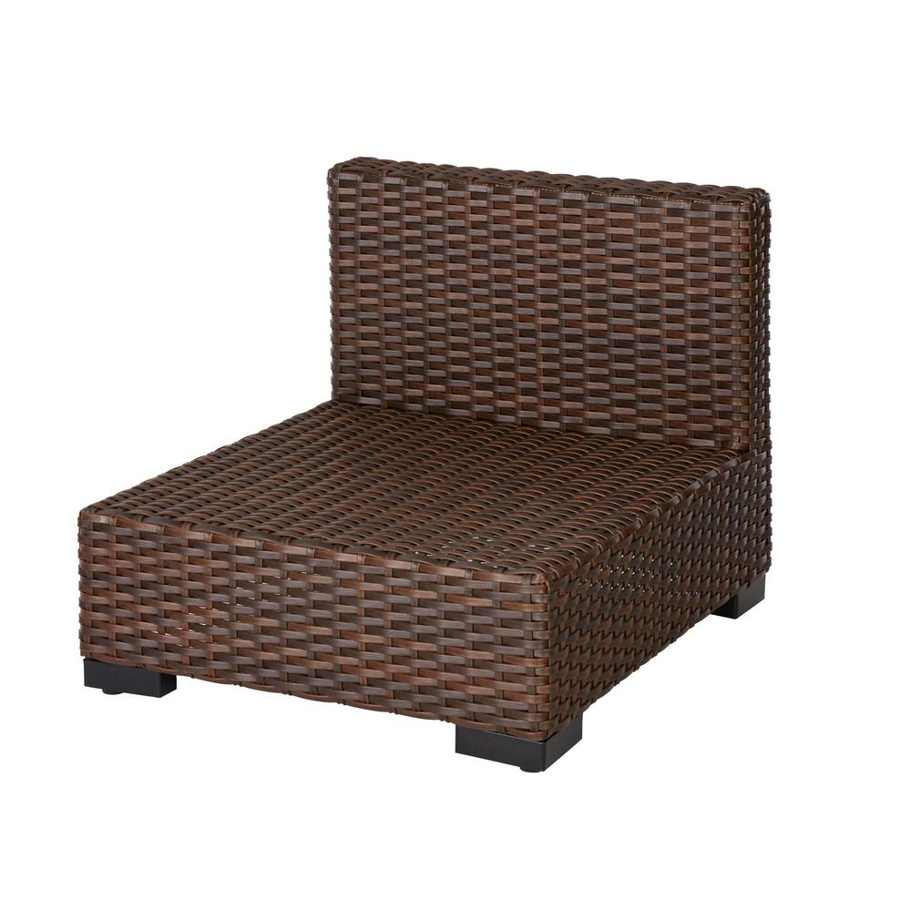 Hampton Bay Commercial Dark Brown Wicker Armless Middle Outdoor Sectional Chair