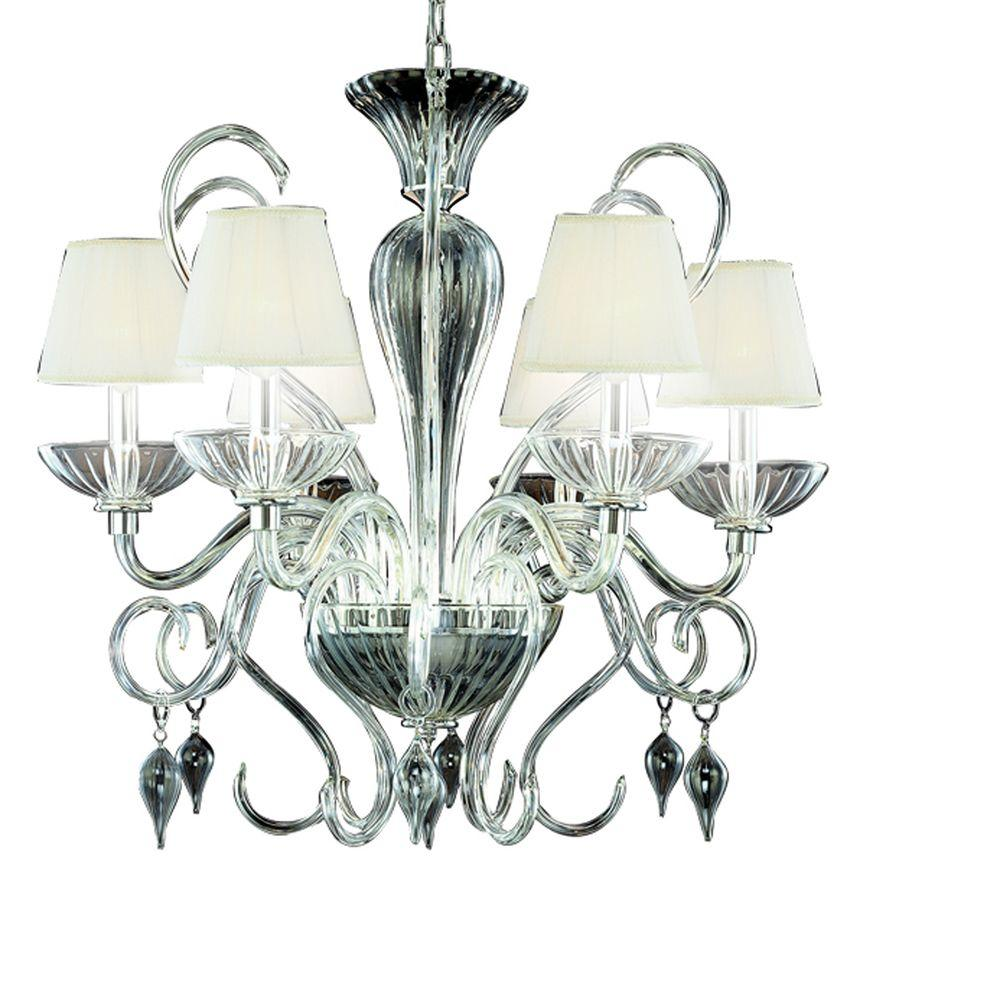 Eurofase Celesto Collection 6-Light Chrome and Clear Chandelier