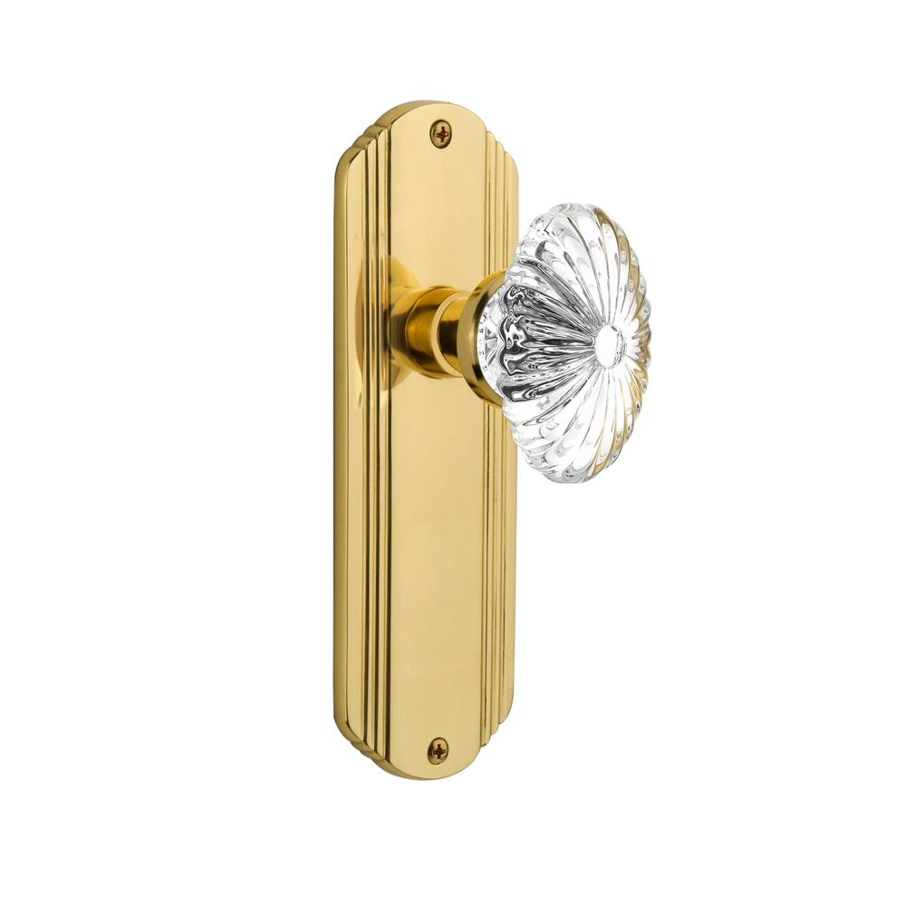 Deco Plate 2-3/4 in. Backset Polished Brass Passage Oval Fluted Crystal