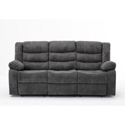 Anji 37 in. Gray Fabric 3-Seater Reclining Lawson Sofa with Cupholders
