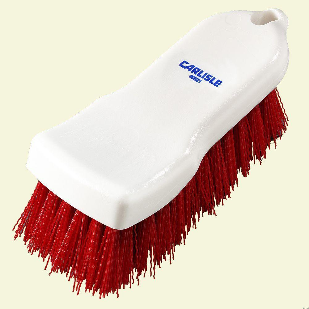 6 in. Compact Red Hand Scrub Brush (Case of 12)