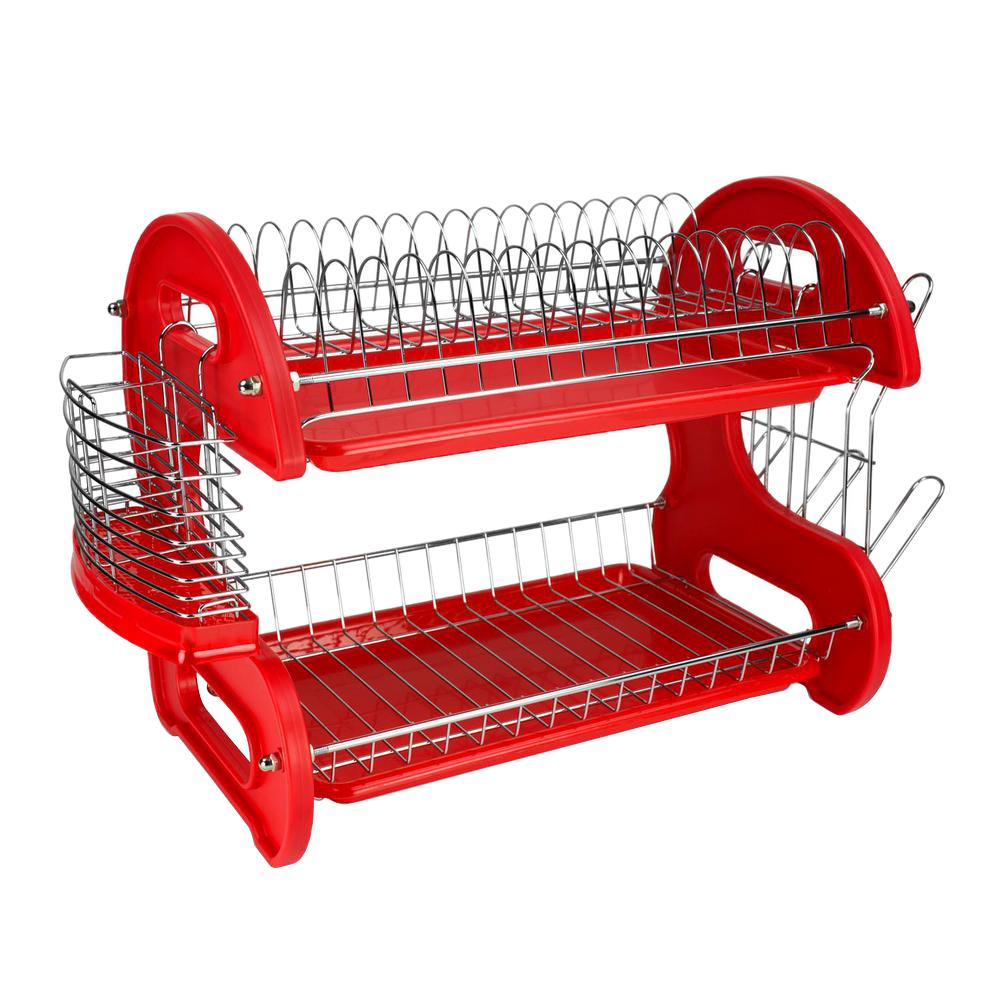 Home Basics 2-Tier Plastic Red Dish Drainer