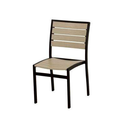 Euro Textured Black All-Weather Aluminum/Plastic Outdoor Dining Side Chair in Sand Slats
