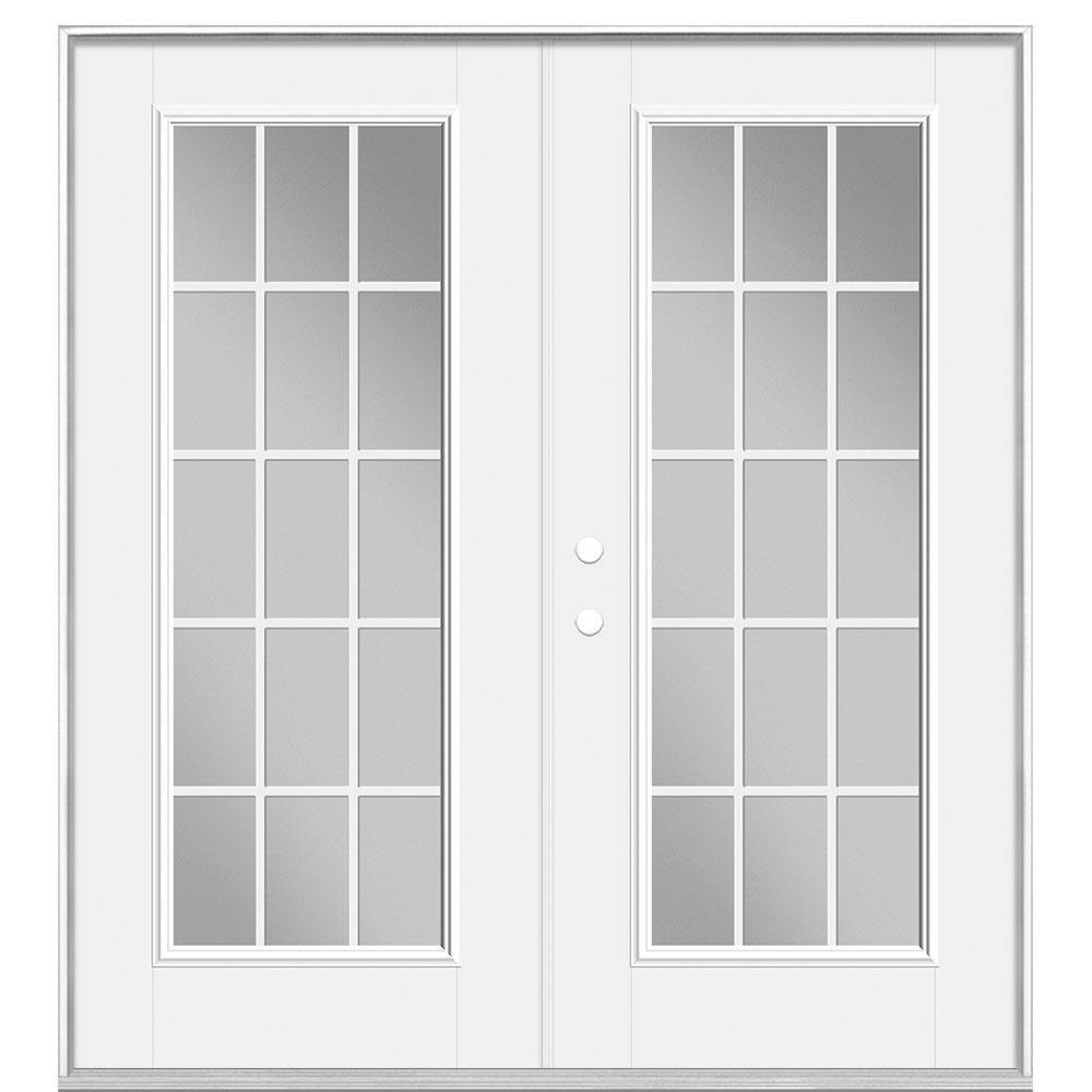 72 in. x 80 in. Primed White Steel Prehung Right-Hand Inswing 15-Lite GBG Clear Glass Fiberglass Patio Door Vinyl Frame