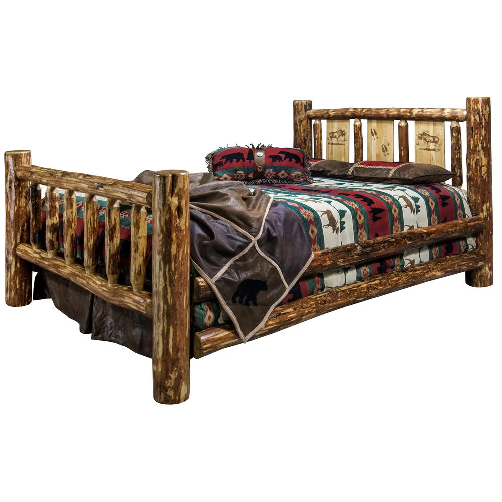 Glacier Brown King Laser Engraved Moose Motif Spindle Style Bed