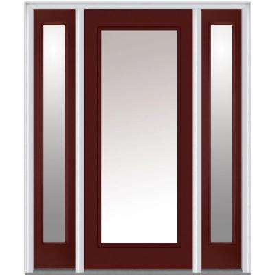 60 in. x 80 in. Classic Right-Hand Inswing Full Lite Clear Painted Fiberglass Smooth Prehung Front Door with Sidelites