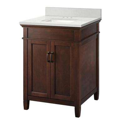 Ashburn 25 in. W x 22 in. D Vanity Cabinet in Mahogany with Engineered Marble Vanity Top in Snowstorm with White Basin