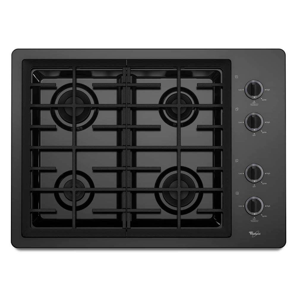 Whirlpool 30 in. Gas Cooktop in Black with 4 Burners