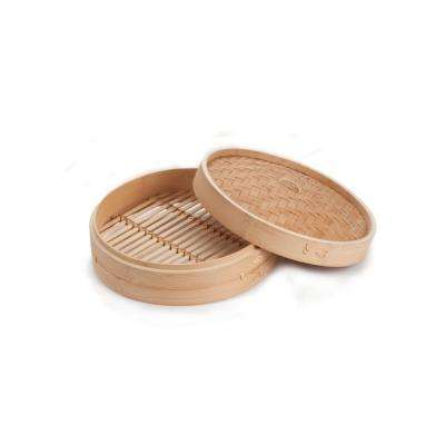 2-Piece 8 in. Asian Bamboo Steamer with Base Frame and Removable Lid